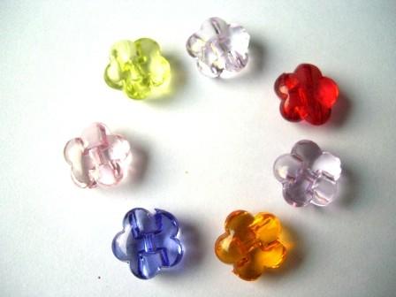5-blättrige Blumen, transparent, Knopf