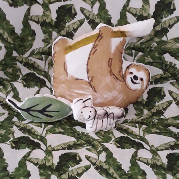 Hilco Safari Pillow mit Faultier, Paneel, Baumwollpopeline, *SALE*