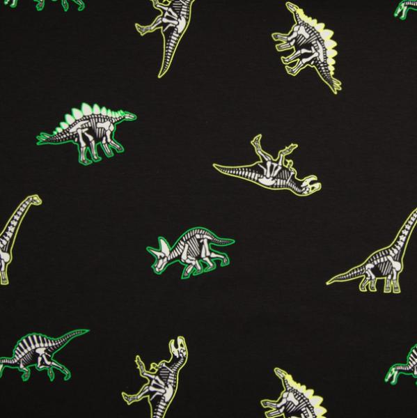 Zauber-Glow-in-the-Dark-Jersey, Dinos neon auf schwarz