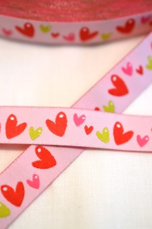 Herzchen, rosa, Webband