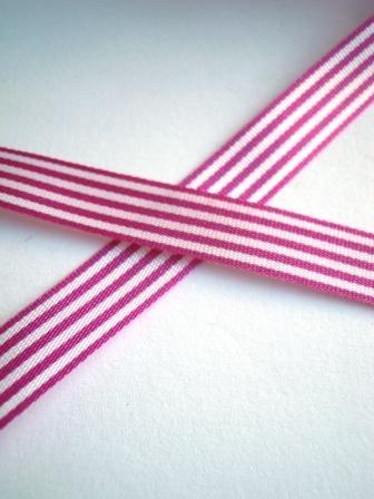 Stoffband, fuchsia gestreift, 10 mm