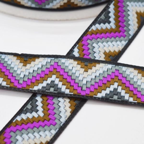 Inka Chevron, lila-grau, Webband