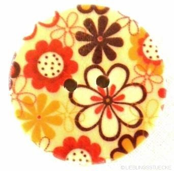 Blumewiese, rot-braun, Holzknopf
