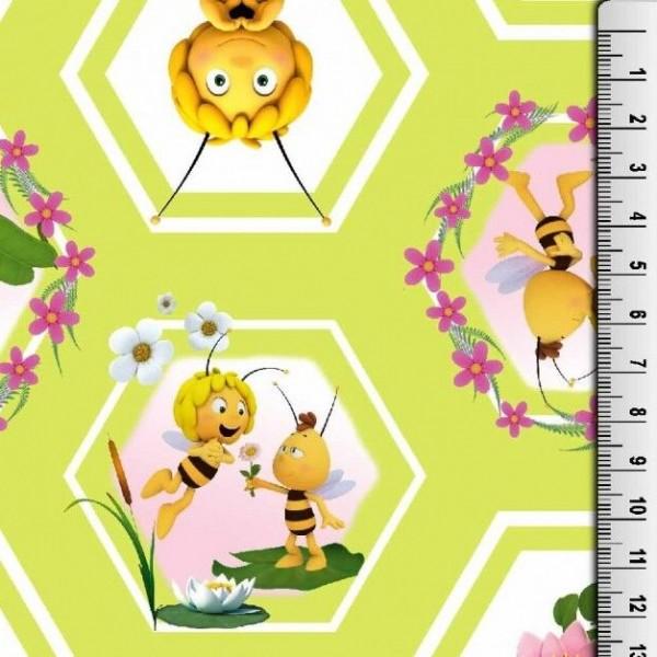 Biene Maja und Willi auf hellgrün, Waben, Jersey Digitaldruck