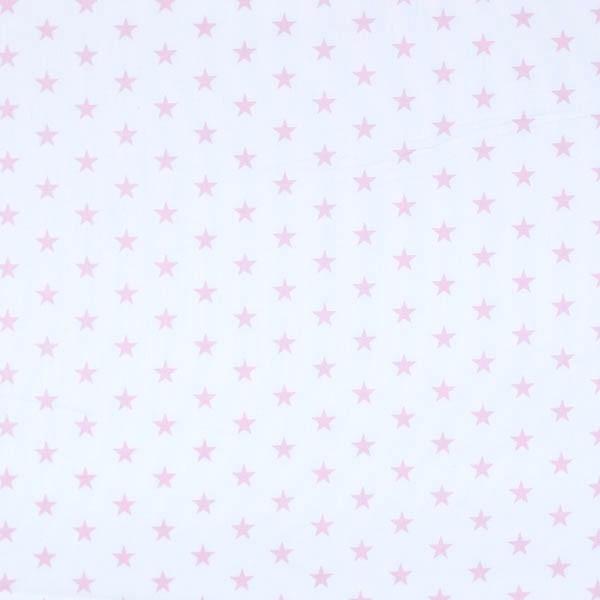 Lili Small Star rosa auf weiß, Webstoff, waschbar bei 60°
