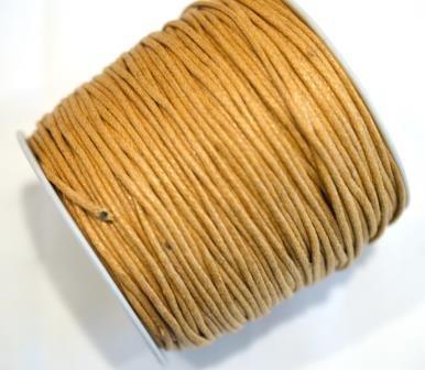 gewachste Baumwollschnur, 2mm, hellbraun