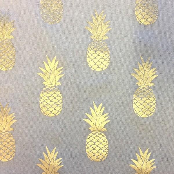 Dekostoff Metallic Ananas gold auf leinen