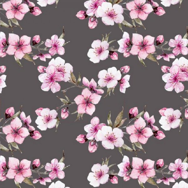 Digitaldruck Cherry Blossom, dunkelgrau, Jersey