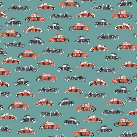 Retro Cars auf hellpetrol, Baumwollstoff, waschbar bei 60°