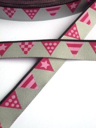 Wimpelkette, pink, Webband