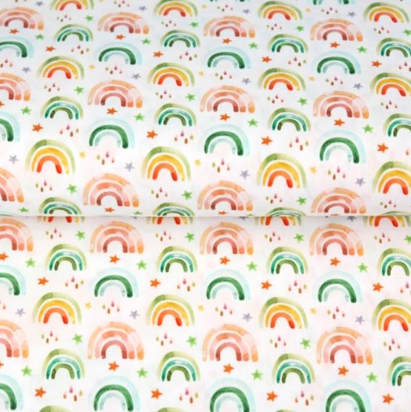 Stenzo, Regenbogen pastellbunt auf weiß, Baumwollstoff