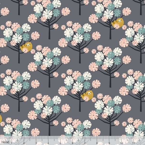 blendfabrics, Rainforest Slumber Tree Dwellers rosa auf dunkelgrau, Webstoff