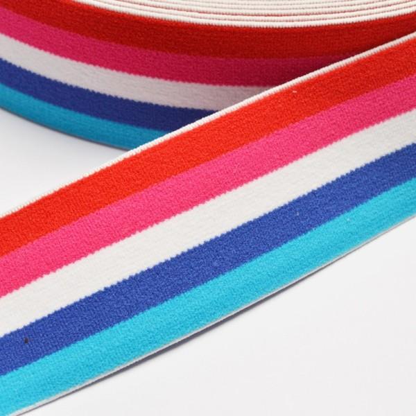 Gummiband breit, Streifen rot-pink-weiß-blau