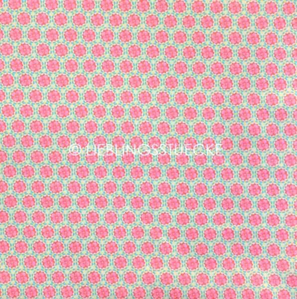 Heidi Blüten im Kreis pink auf beige, Webstoff