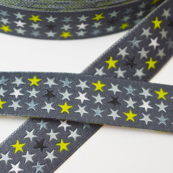 Sterne in 3 Reihen, dunkelgrau, Webband