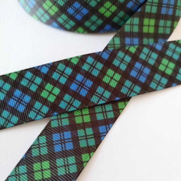 Ripsband Oxford grün-blau