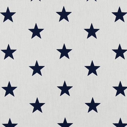 Lili Big Star dunkelblau auf weiß, Webstoff, waschbar bei 60°