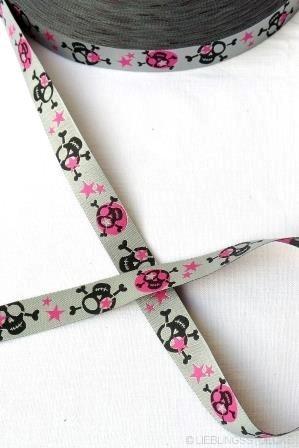 Scull, schwarz-pink, Webband *SALE*