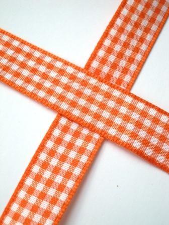 Stoffband, orange kariert, 15 mm