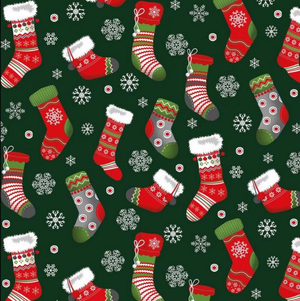 Weihnachtssocken auf grün, Baumwollstoff