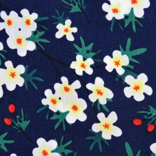 Blüten&Beeren auf dunkelblau, Baumwollstoff