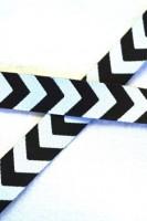 Chevron, weiß-schwarz, Webband
