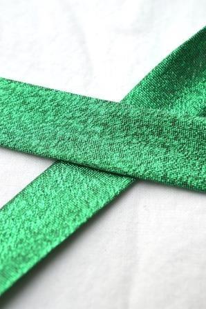 Schrägband, 18 mm, grün glitzer