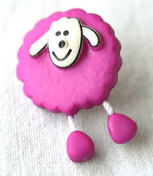 Schaf, pink, Knopf