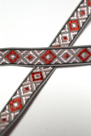 Jaquard Rauten, rosa/rot auf grau, Webband *SALE*