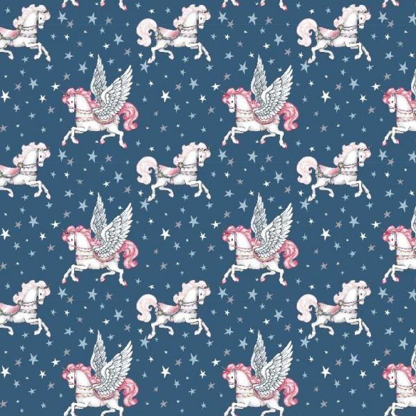 Fairytale Unicorn, dunkelblau, Popeline