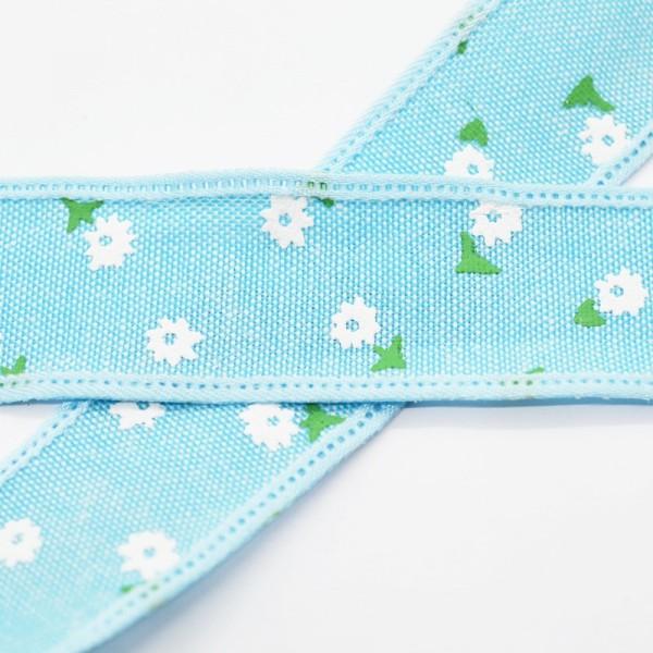 Blumen und Blätter, hellblau, Baumwollband