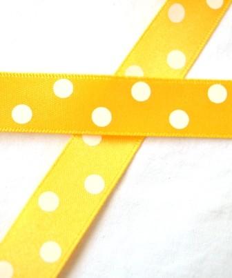 Satinband, polka dots, goldgelb, 15 mm