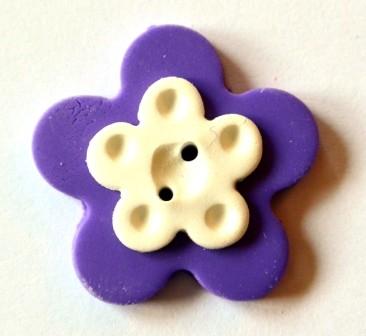 Blume, klein, lila, Fimoknopf *SALE*