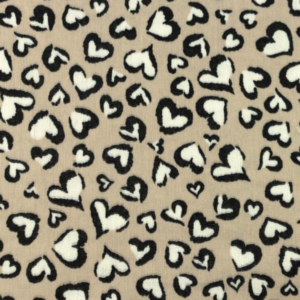 BIO-Musselin, Herzen im Leo-Print auf sand