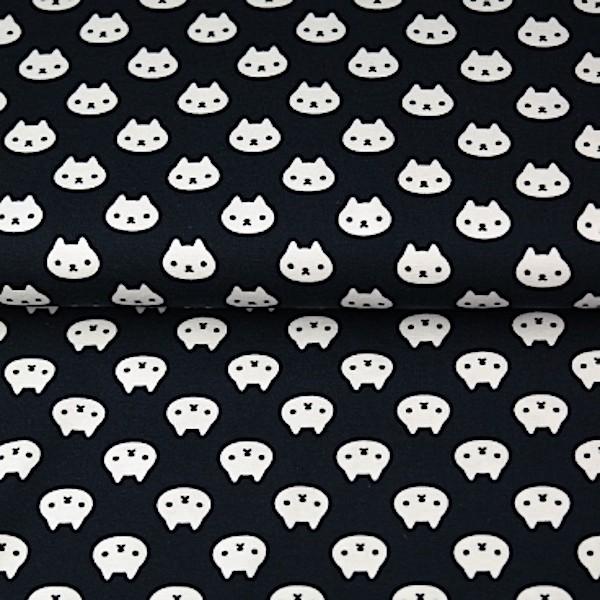 Stenzo kleine Häschen weiß auf schwarz, Popeline