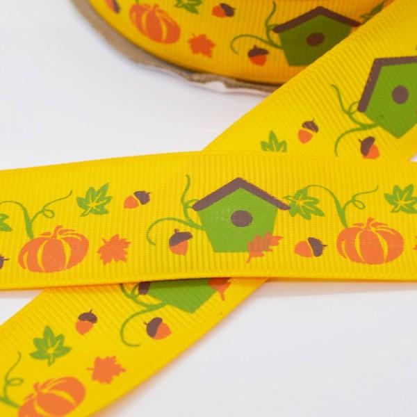 Ripsband, Halloween Kürbisse mit Vogelhäuschen auf gelb