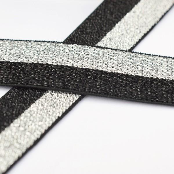 Glitzergummiband, schmal, schwarz-silber