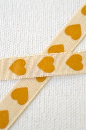 Herzen, gold, Stoffband