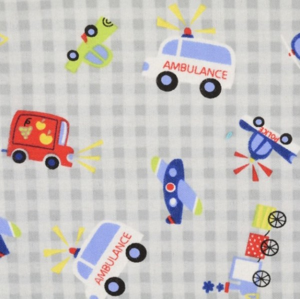 Flanell Fahrzeuge grau-kariert