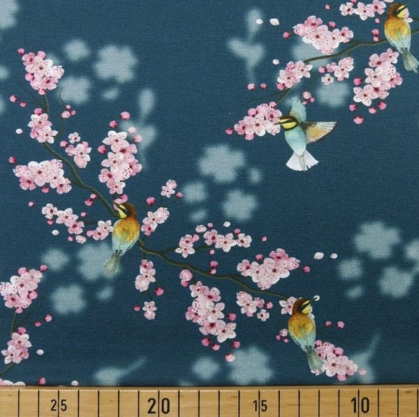 Vögel&Kirschblüte dunkelblau, Jersey