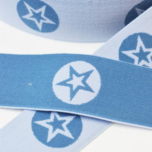 Gummiband breit, Sterne im Kreis, jeansblau hell