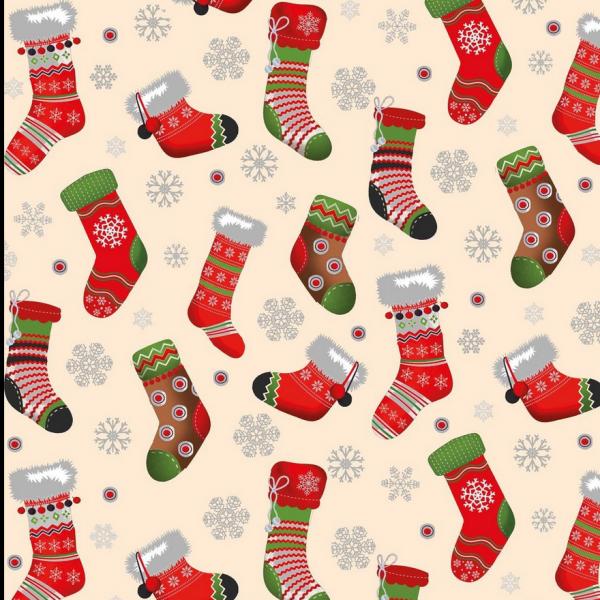 Weihnachtssocken auf offwhite, Baumwollstoff