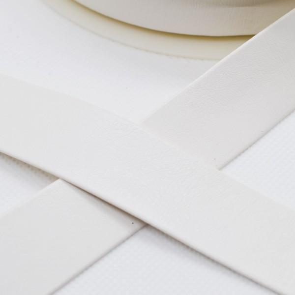 Einfassband Kunstleder, 25 mm, weiß
