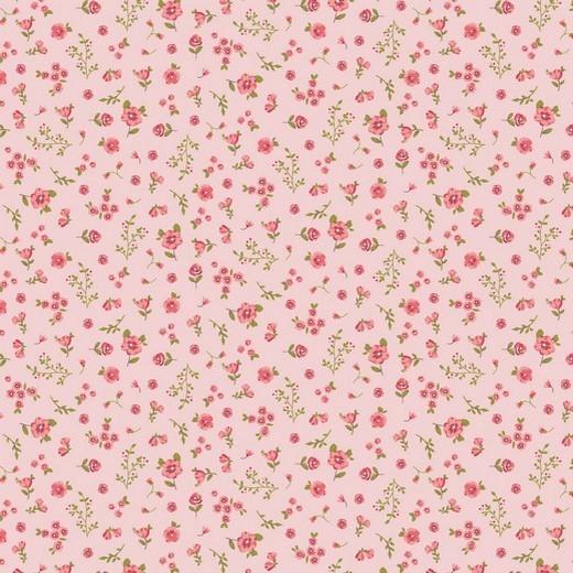 BIO-Baumwolllstoff, Streublbümchen rosa, waschbar bei 60°