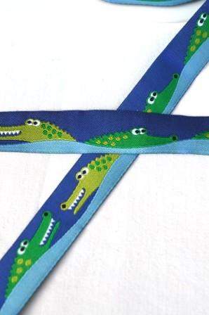 Krokodile, blau, Webband