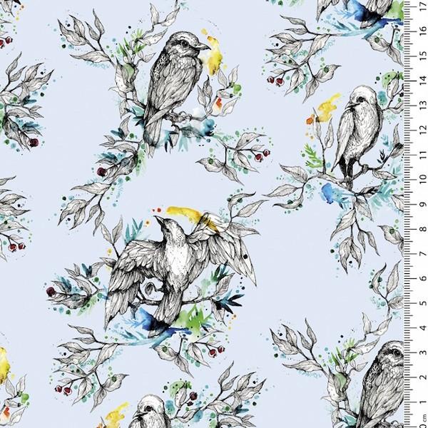 Jersey Digitaldruck, Birds auf hellblau, Jersey