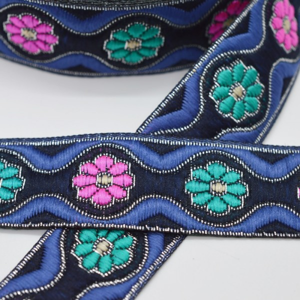 Blumen und Wellen, schwarz/blau, Webband breit