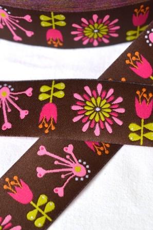 Blumen, braun, Webband breit