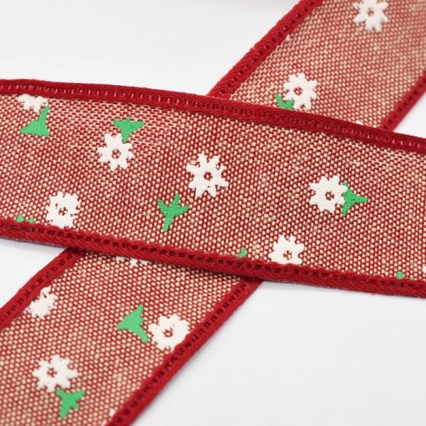 Blumen und Blätter, rot, Baumwollband