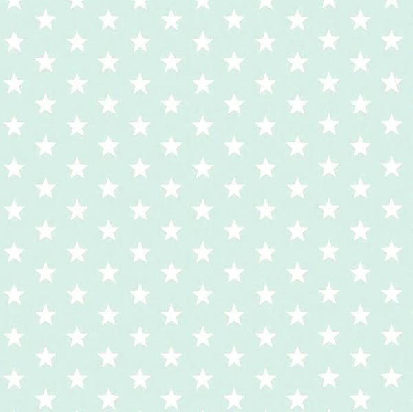 Lili Small Star weiß auf hellem mint, Webstoff, waschbar bei 60°